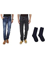 UK Blue Men Jeans Combo Of Dark Blue And Grey Jeans With Blue Socks