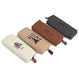 4 Pcs Retro Canvas Students Strong Pen Pencil Zipper Pouch Bags Case