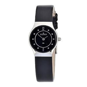 Skagen Women's 233XSSLB Skagen Denmark Wo Black Dial with Black Leather Watch