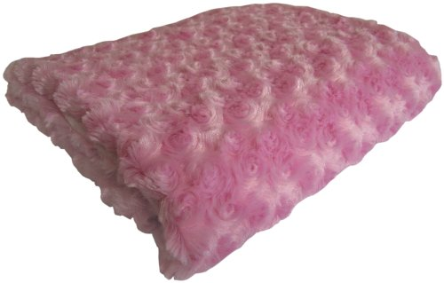 Baby Doll Bedding Rosey Chenille Reversible Blanket, Pink