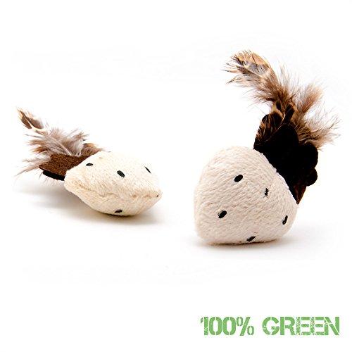 2-Stk-Plscherdbeeren-Katzenspielzeug-mit-echten-Federn-und-Katzenminze