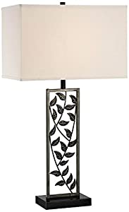 Lite Source LS-21954 Folha Table Lamp, Aged Silver Bronze, Fabric