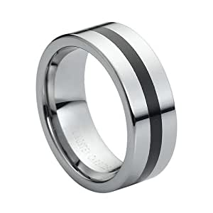 Amazon Tungsten Carbide Black Rubber Inlaid Center 8mm Wedding Band Ring Jewelry