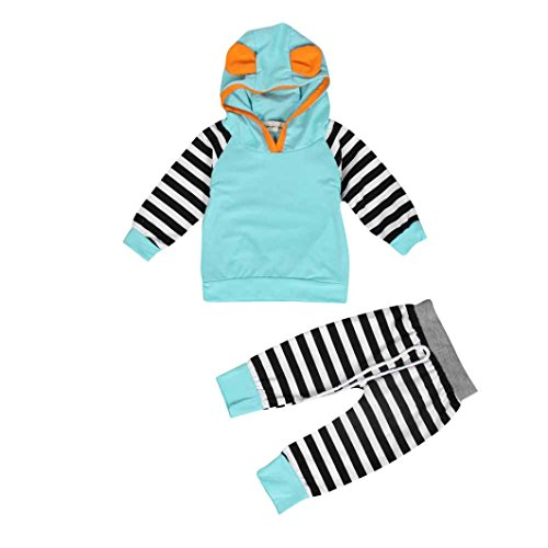 AMA(TM) Baby Girl Boy Striped Outfits Hooded Tops +Pants Outfits Clothes Set (6-12Month, Blue)