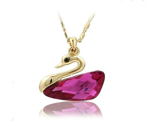 Gold Tone Rose-carmine Swan Drop Swarovski Elements Crystal Pendant Necklace W. 18k Gold Plated Chain