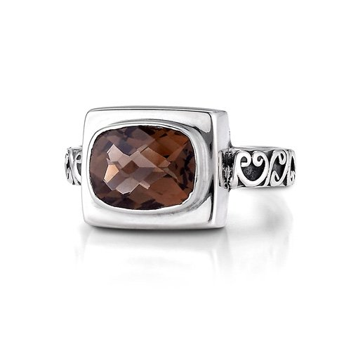 Sterling Silver This beautifully engraved sterling silver smokey quartz ring will be a great addition to any outfit.