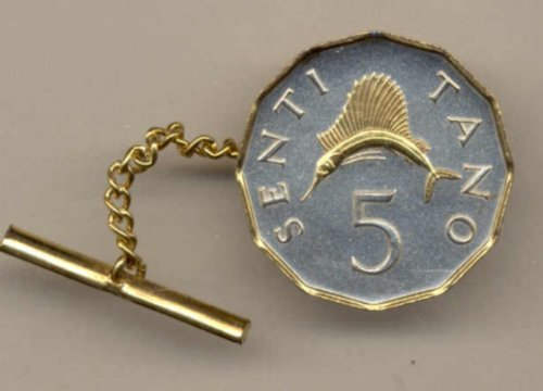 Gorgeous 2-Toned Gold on Silver World Swordfish Coin Tie-Tack-185TT