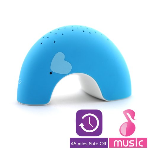"""Blue Elly """"Easy Clean, Lullaby"""" Twilight Constellation Elephant Projector Night Light with Music by Lumitusi (Increased Volume)"""