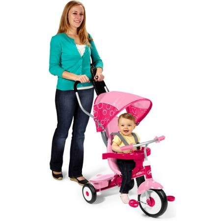 Ultimate-Grow-with-Me-Trike-4-in-1-Sturdy-Steel-Frame-Unique-Stroller-Style-Canopy-Comfortable-Headrest-Pink