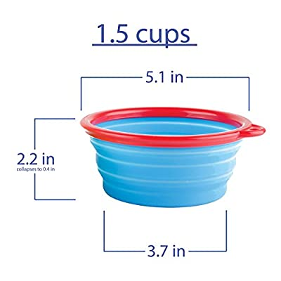 Travel Dog Bowl By Fossa Collapsible Portable Pet Food & Water Bowl I Dishwasher Safe, BPA Free, Brightly Coloured Silicone Portable Pop Up Bowls I Size 2 X 1,5 Cups I Make Your Travelling Easier Now!