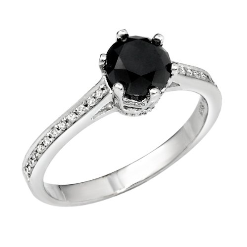 0.28 CT Black Round Center Diamond and 0.24ct Melee in 14K WGD Ring, Size 6.5. Black Center Clarity: White (GH) Treatment code N Melee Clarity: SI1-2. 2.3 gram setting. Treatment codes: Black Center, Melee: N