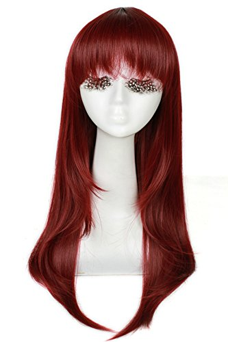 L-email 60cm/23.62inch Long Anime Straight Cosplay Wig Wine Red Cw143M