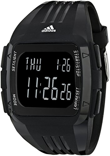 adidas Unisex ADP6090 Digital Black Striped Watch with Polyurethane Band