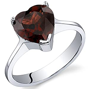 Revoni Cupids Heart 2.25 carats Garnet Ring in Sterling Silver Size P 1/2,