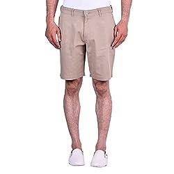 CORTOS Beige 100% Cotton Plain Regular fit casual Solid Short (Size: 34inch)