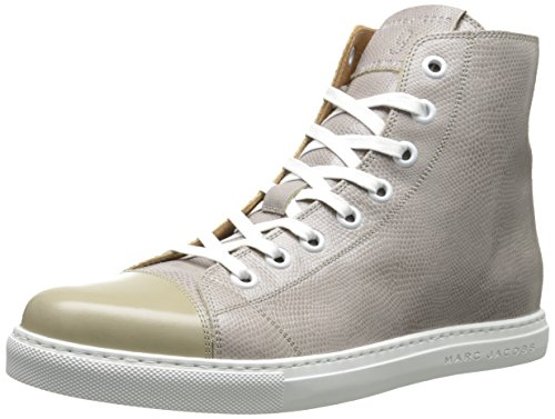 MARC JACOBS Men's Calf Leather Parker High Top Fashion Sneaker, Grey, 44 EU/10 M US