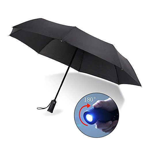 yier-led-automatic-flashlight-umbrella-compact-travel-black-umbrella-with-180-degree-ratate-handle