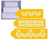 Stencils for Cake Designs - Alencon Lace set of 3 - Ideal for Cake Decorating and Craft