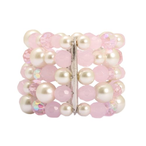 Bedazzled Light Pink and Faux Pearl Multi Row Vintage Bangle - in a Gift Bag