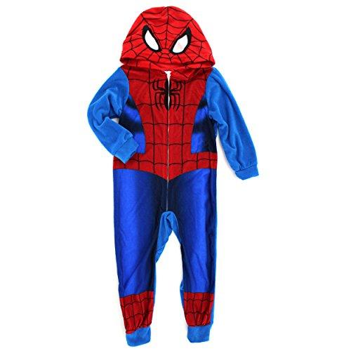 Spider-Man Boys Fleece Blanket Sleeper Pajamas Union Suit (8, Blue Spidey Costume)