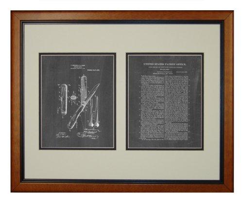 "Hunting-Knife Patent Art Chalkboard Print In A Honey Glazed Wood Frame (16"" X 20"")"