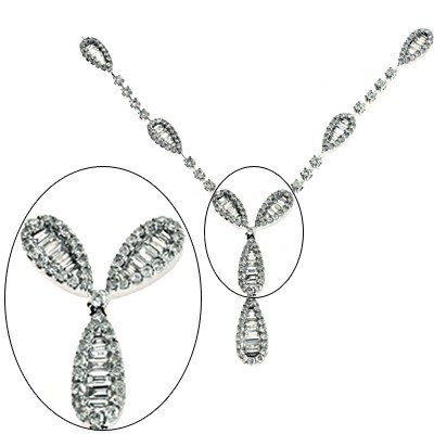 14k White Gold Diamond Necklace - JewelryWeb
