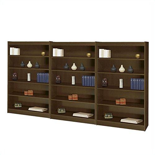 "Safco WorkSpace 60""H Five Shelf Square-Edge Wall Bookcase in Walnut"