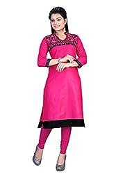 Clickedia Women's faux Georgette Pink Black Kurti - Semi-stitched