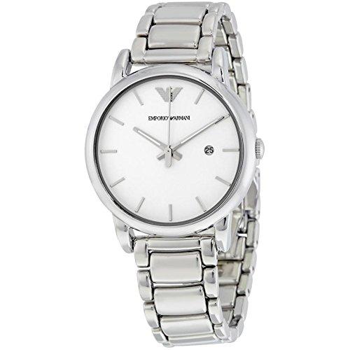 Emporio Armani-Reloj con mecanismo de cuarzo para hombre color blanco esfera analógica pantalla y plata pulsera de acero inoxidable ar1854