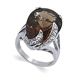 Womens Adorable Smokey Quartz Gemstone Band .925 Sterling Silver Ring