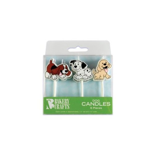 "Oasis Supply Dog Birthday Candles,6-Piece, 1 1/4""  tall and 1 1/4"" wide."