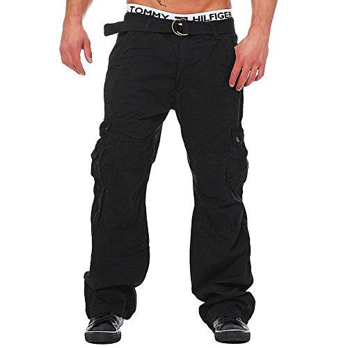 M223 Herren Cargo Jeans Army Hose Vintage Cargohose Loose Fit Chinohose, Farben:Schwarz;Größen:W36 (Etikett 52)