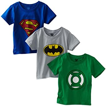 Fruit of The Loom Little Boys' 3-Pack Funpals Justice League Crew Shirt, Assorted, 8