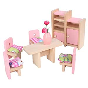 A Set Of Dollhouse Furniture Wooden Dinning Room Toy Decorating Kids Playing Toys