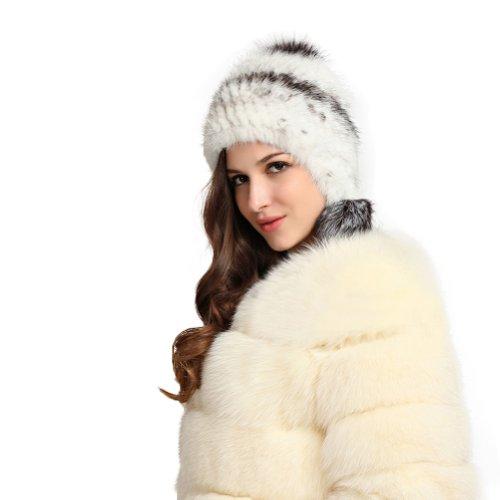 Ferrand - Bonnet en Fourrure de Vison d élevage tricoté-Bonnet MS18 - Femme  - Blanc 90d841ba330