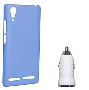 Chevron Premium Back Cover Case with USB Car Charger for Lenovo A6000 Plus (Aqua Blue)