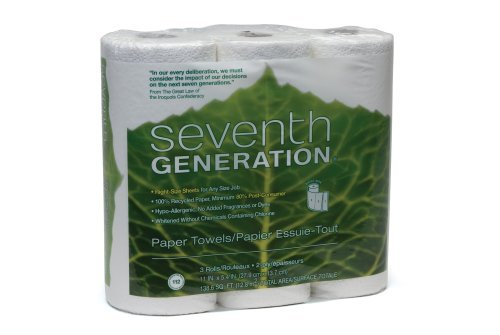 Seventh Generation Paper Towels, White, 2-Ply Sheets, 3-Count Packages (Pack of 10)