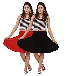 Carrol short Skirt-combo of 2(Black and Red)