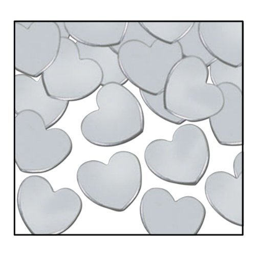 Fanci-Fetti Hearts (silver) Party Accessory  (1 count) (1 Oz/Pkg) - 1