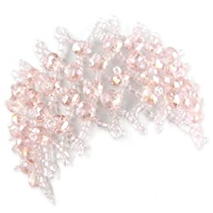 Crystal Cut Shimmery Bead Bracelet - Stretch Woven Pattern - Baby Pink