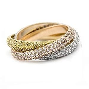 14k gold tri color wedding band jewelry