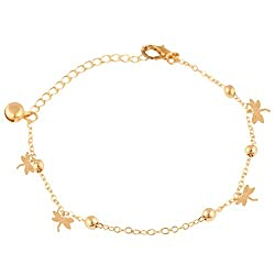 Jazz Jewellery Gold - Toned Round Beads Dragonfly Charms Chain Anklet for Women and Girls