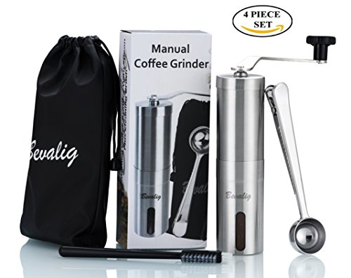 Manual Coffee Grinder with Travel Pouch, Spoon and Cleaning Brush | Ceramic Conical Burr for Precision Brewing | Stainless Steel Hand Crank Mill