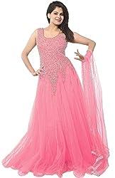 SKYUP ENTERPRISE Women's Embroidered Net Light Pink Gown