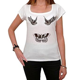 Harry Styles Tattoo t-shirt birds Butterfly One Direction T-shirt Femme imprimé célébrité - Blanc, XS