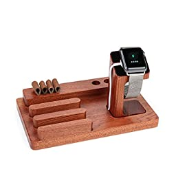Apple Watch Stand Charger Dock Holder for Apple Watch & 3 in 1 Creative Natural Rose Wood Pen Holder Docking Station Cradle Bracket for Iphone 6/6s Plus Ipad & Other Phones Tablets ( Upgrades Version)