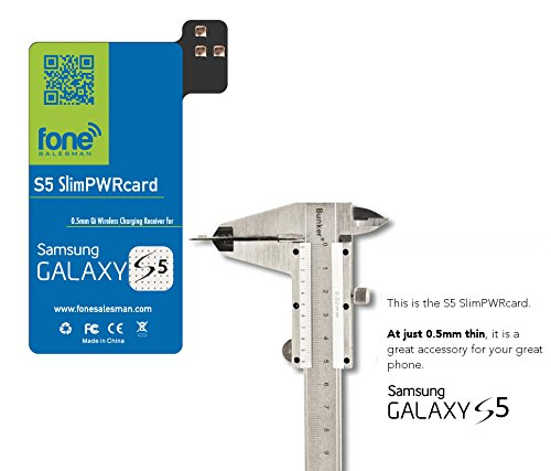 S5 SlimPWRcard - 0.5mm Ultra Thin Qi Receiver Card Module for Samsung Galaxy S5 V Compatible with S-View Cover and NFC Function, Recommended to Use with QiStone+ & WoodPuck or Koolpad