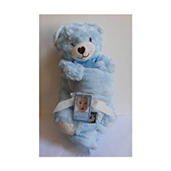 Blankets & Beyond Plush Blue Stuffed Bear w/Blanket