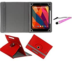 Gadget Decor (TM) PU LEATHER Rotating 360° Flip Case Cover With Stand For Vizio VZ-706 + Stylus Capacitive Pen -Red