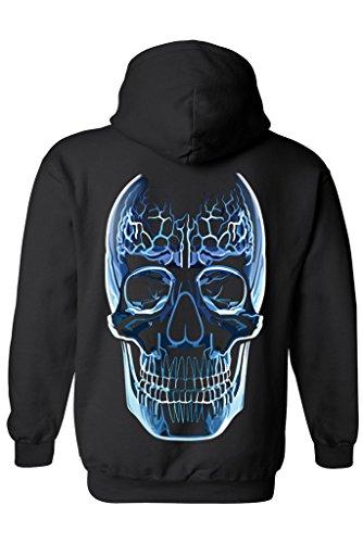 Unisex Zip Up Hoodie Blue Glass Skull Oversized Graphic: BLACK (XL)